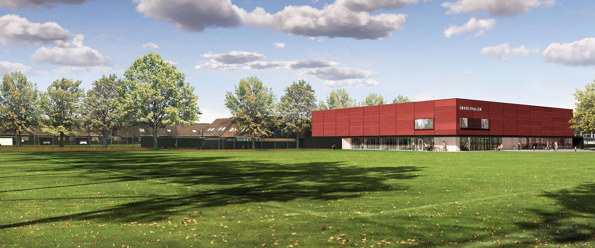 Søholthallen, ny springhal, reference, Oluf Jørgensen A/S, idræt og kultur