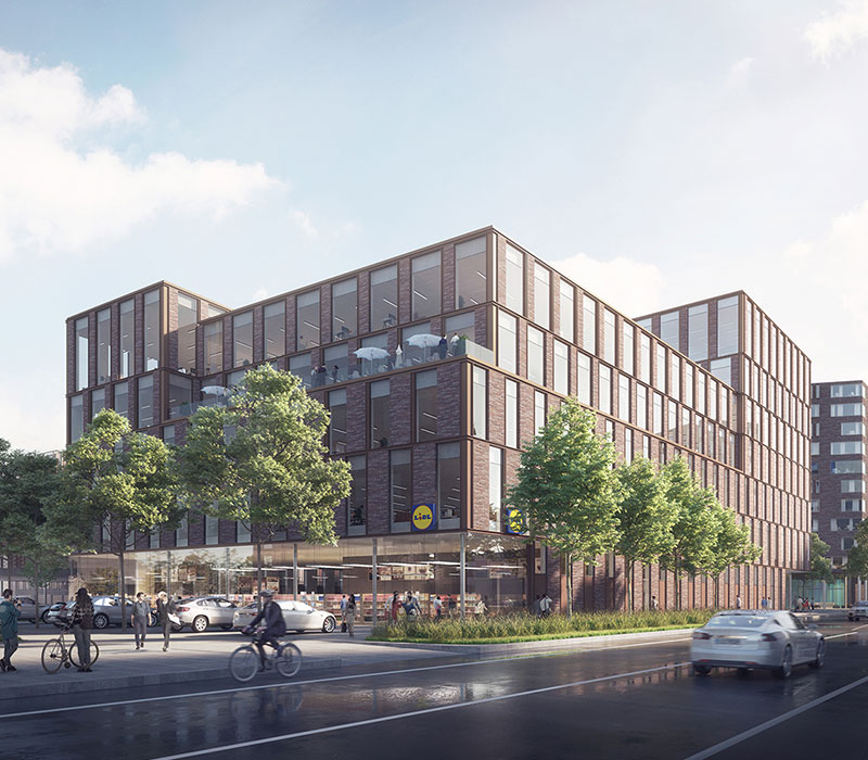 Lidl, kontorfaciliteter, P-hus, butik, reference, Oluf Jørgensen A/S, DGNB certificering, rådgivende ingeniører